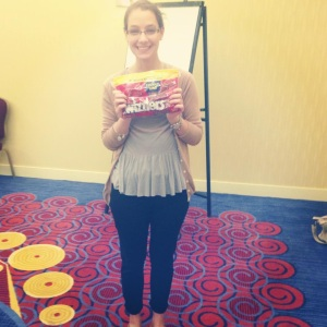 Jennie with her bag of Twizzlers at the ImproveCareNow Strategic Planning Meeting