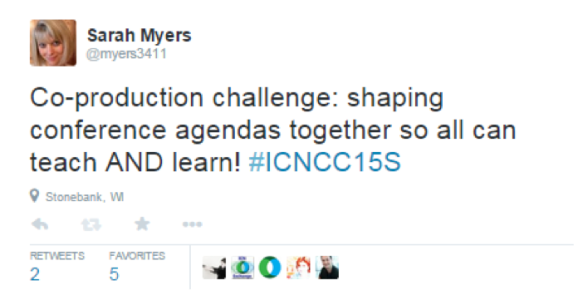 Sarah Myers tweets about the work of co-producing the conference agenda for the Spring 2015 Community Conference (#ICNCC15S)