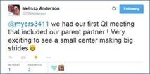 A Tweet about a center's first QI Meeting that included a parent partner
