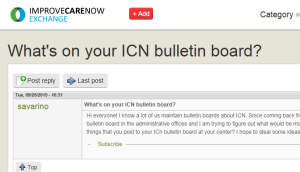 ICN Exchange Pin asking what other teams have on their ICN Bulletin Board